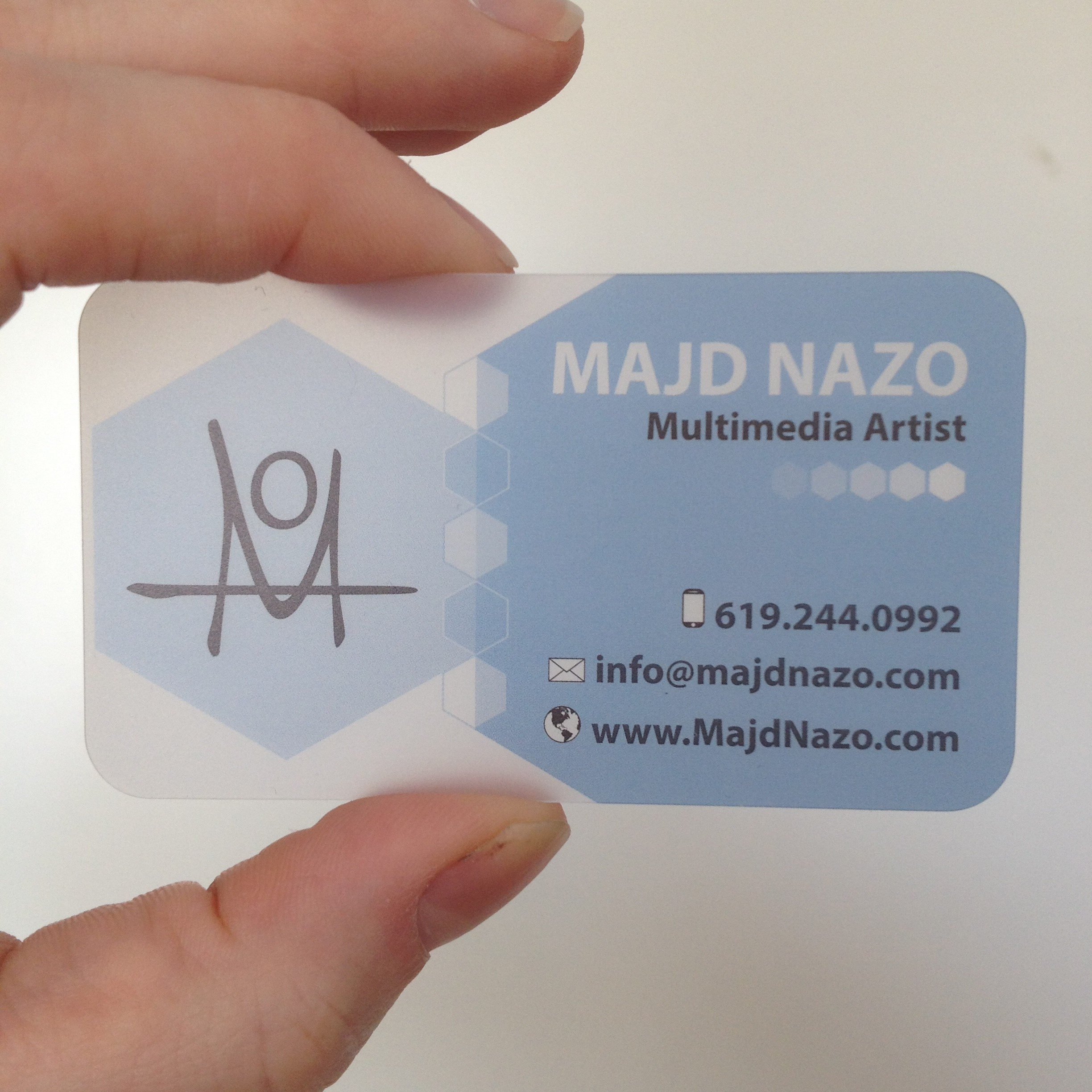 Frosted Plastic Business Cards | Majd Nazo